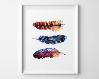 Feather Print, Watercolor Feathers, Feathers Decor, Watercolor Art, Home Decor, Feathers Art Print, Watercolor Feather, Feathers Art Print