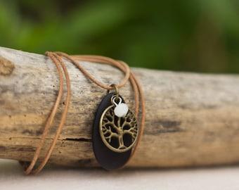 Adjustable Sea Glass Leather Necklace
