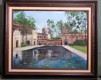Remarkable SIGNED Oil Painting (San Diego Balboa Park - Lili Pond)