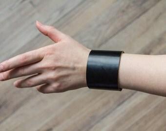 Black Leather Bracelet - Leather Cuff - Stylish Black Bracelet - Wristband