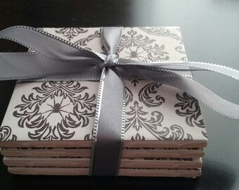 Handmade Halloween spiders ceramic tile coasters