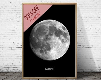 Full Moon Poster - PRINTABLE FILE. La Luna Moon Poster. Lunar Moon Print. Vintage Luna Print. Solar System Art. Celestial Dorm Room Art.