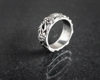 Vintage Art Nouveau Style Sterling Silver Flower Ring Fully Hallmarked for 1974