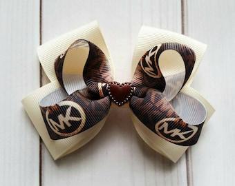 Michael Kors Hair Bow/Michael Kors Hair Clip/Michael Kors Barrette/Name Brand Hair Bow/Fashion Hair Bow/Fashion Hair Clip/Worded Hair Bow
