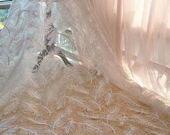 Lace fabric,3D lace fabric,wedding dress lace fabric,guipure lace fabric,White feather lace for Wedding Gown, Fashion Dress