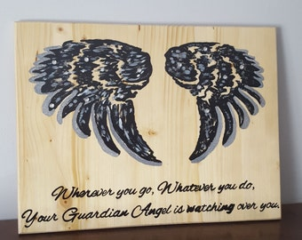 Guardian Angel Sign - Angel Signs - Sayings and Quotes - Primitive signs - Home Decor-Bedroom Decorations-Home & Living- Gift-Valentines Day
