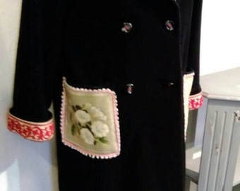 Beautiful black Cashmere blend long coat with Antique Tapestry and Chenille braid. Preloved to Reloved. UK size 12
