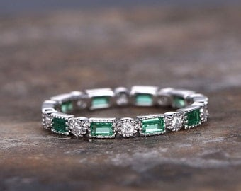 Emerald wedding ring,FULL eternity ring,925 sterling silver band,anniversary ring,stacking matching band,white gold plated,milgrain set