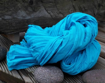 Bright #blue 100 percent #linen #scarf