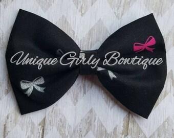 Black hair bow mini bows pink silver hair bow