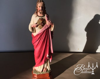 Gorgeous Vintage French Chalkware Plaster Statue of Jesus Christ Sacred Heart. Rich elegant colours and so delicately hand p