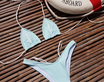 Brazilian Bikini in handmade,azure swimsuits,  swimwear, swimsuits for women, bathing suits