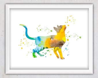 Cat Print, Watercolor Nursery Print, Instant Digital Download Print, Nursery Cat Print, Watercolor Art, Pet Wall Art Print, Orange Blue Art