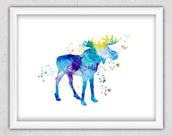 Nursery Wall Art Boy, Moose Print, Watercolor Instant Download Print, Moose Nursery Poster, Kids Home Decor, Woodland Animal Art, Moose Art