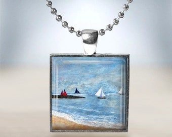 Silver Plated Seaside Sailing Boats Cabochon Art Pendant Necklace