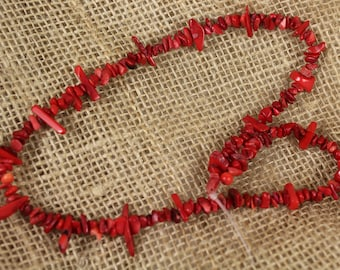 "15"" Strand of Red Coral Bamboo Chips - Estate Sale - #590"