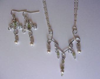 silver wire wrapped peridot and pearls wedding 2 piece set--earrings and necklace set