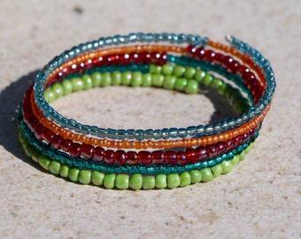 Colorful Beaded Bracelet on Oval Memory Wire