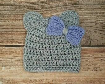 Crochet Baby Girl Hat, Crochet Kitty Hat, Bow Hat, Newborn Photo Prop