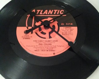 Phil Collins 45 Record Clock - You Can't Hurry Love