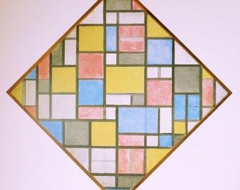 Piet Mondrian print - Composition in diamond shape - vintage museum poster - offset litho - excellent condition