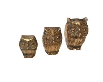 Set of 3 Brass Owls