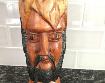 """Vintage Tribal Wood Carving Statue Bearded African Man Head Bust 11"""" Hand Carved"""
