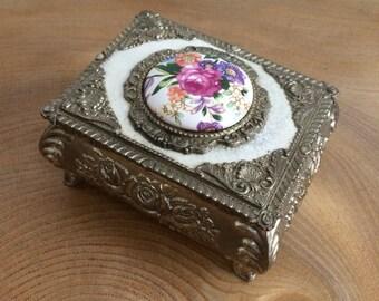 Ornate Vintage Silver Metal Trinket Box with Floral Porcelain Plaque