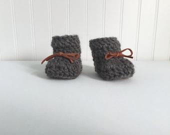 Baby Booties - Charcoal