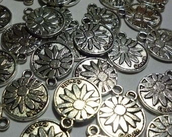Flower Cousin Silver Tone Metal Charms - Pack of Ten - H166