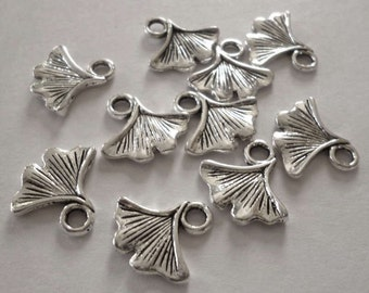 Silver Tone Metal Ginkgo Biloba Leaf Charms - Pack of Ten - H058