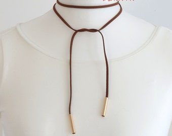 Choker necklace collar brown gold necklace