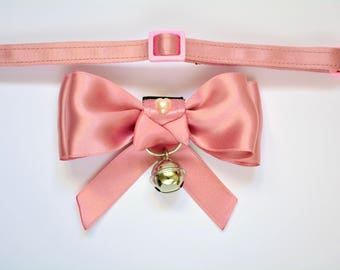 """Pink kitten bow tie """"Little Sweetheart"""" - slide on cat bow tie - fits most types of pet collars"""