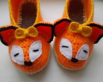 Slippers Slippers crochet Women's Slippers for the house Fox Handmade