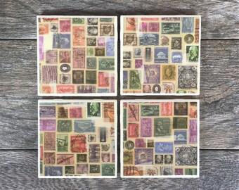 Vintage Postage Stamps Coasters