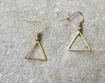 Triangle Dangle earrings, Triangle earrings, Danlge earrings