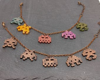 Space Invaders Charm Bracelet