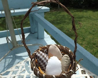 Basket of Hand Sewn Plush Eggs