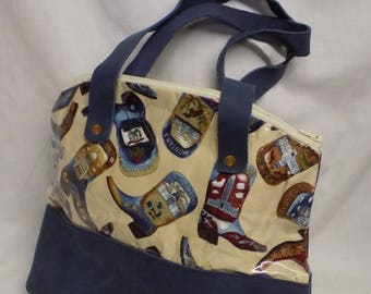 Boot Print Under Plastic with Blue Leather Bottom Purse