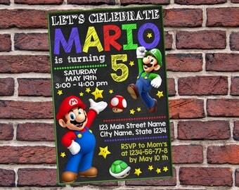 Invitation, Super Mario, Super Mario Birthday Invitation, Mario n Luigi Birthday Invitation, Super mario Invitation, Super Mario Party