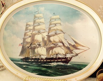 Flagship Frigate Constellation Serving Tray And Two Currier And Ives Rock Glass