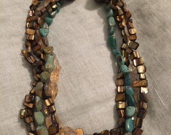 Turquoise, Citrine and Pua Shell Necklace