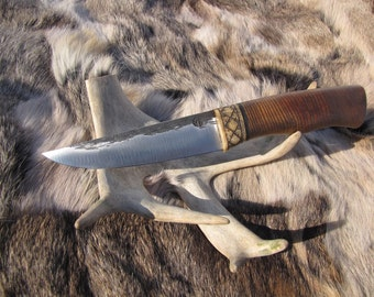 Hand forged scandinavian knife, etnic knife, viking knife, barbarian knife, custom knife, High carbon steel knife