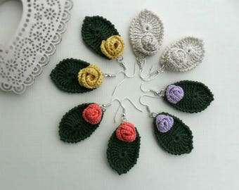 crocheted earrings, flower and leaf, romantic accessory, sustainable jewelry, gift for her