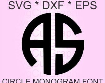 Circle Monogram SVG Font, Svg Files,  2 Letters SVG Monogram Font, SVG Font, Svg Files for Cricut, Cricut Svg Font, Silhouette Svg Font