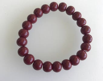 Faded burgundy stretchy beaded bracelet
