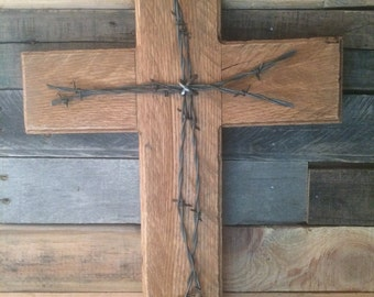 Rustic Home Decor Wood and Barbwire Cross