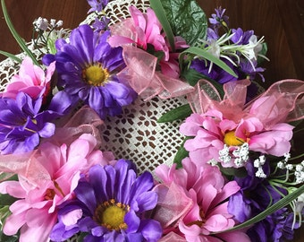 Spring ring purple and pink flowers