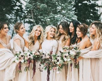 Plaid Blanket Scarf, Bridesmaid Scarf, Wedding Keepsake, Bridesmaid Gift, Wedding favors, Bridal Shower Gift,