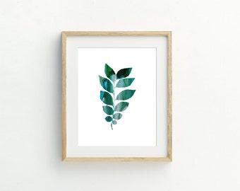 Silver Green Leaf Print #4